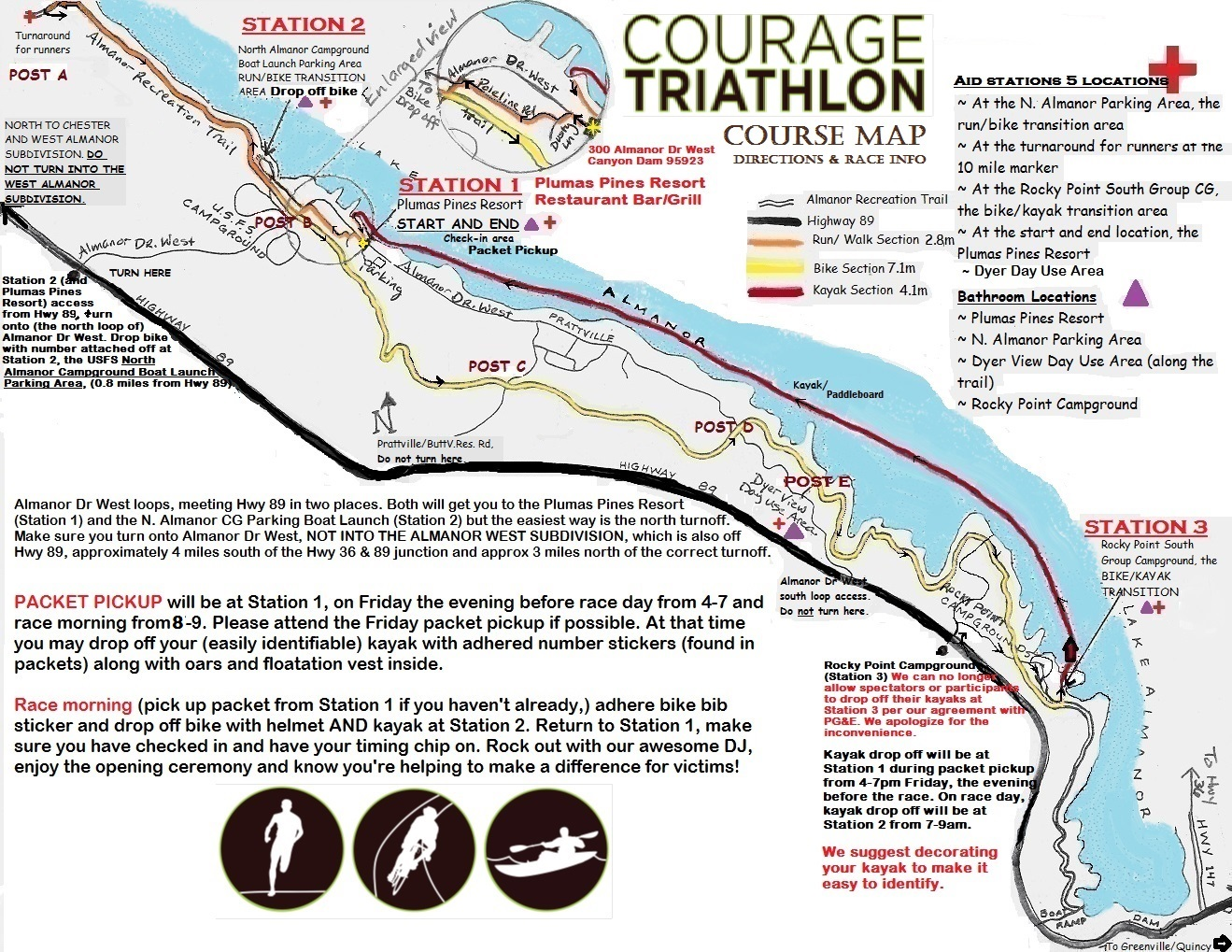 Courage Triathlon Map
